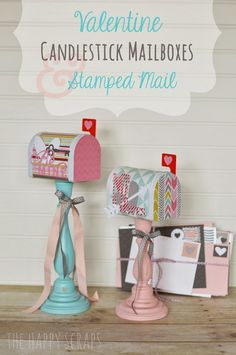 Valentine Candlestick Mailboxes & Stamped Envelopes at www.thehappyscraps.com. Cut out the stamps, hearts, and arrow using your Cricut.