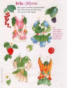 Iris & Mynte are two German woodland fairy paper dolls