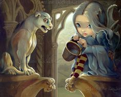 """""""Alannah and the Gargoyle"""" one of my paintings - acrylic on panel - 12x16. She'll be in my upcoming book!"""