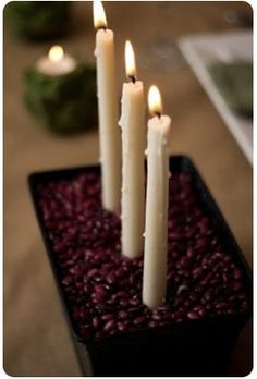Thanksgiving Centerpiece: Red Beans and Taper Candles. Or coffee beans. :)