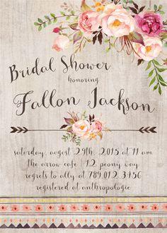 Tribal Boho Bridal Shower Invitation Aztec by INVITEDbyAudriana