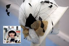 """Post post on her Phryne Christmas headband brooch I found that """" Gareth Blaha creates Phryne's more outrageous """"fluffy, frou frou"""" headwear"""". The felt hats are by Mandy Murphy. Turbans, Fishers Hat, Miss Fisher, 1920s Hats, Gatsby Hat, Millinery Hats, Frou Frou, Murder Mysteries, Love Hat"""