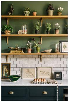 Dark Green Kitchen, Green Kitchen Cabinets, Kitchen Worktop, Kitchen Shelves, Earthy Kitchen, Green Kitchen Walls, Sage Kitchen, Kitchen Taps, Kitchen Nook