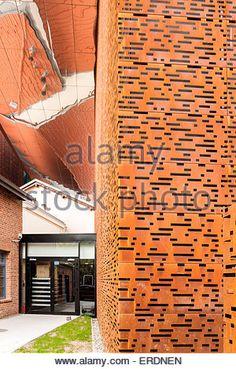 Detail of perforated steel and polished soffit. Cricoteka - Museum of Tadeusz Kantor, Kraków, Poland. Architect: - Stock Photo