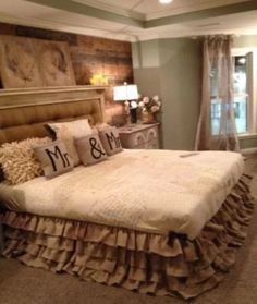 Burlap bed skirt for master bedroom