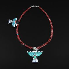 Reversable Shell Eagle Necklace by Charlene Reano | Traditional Native American Jewelry | San Felipe Pueblo, Santo Domingo Pueblo Ke-Wa | wrightsgallery.com