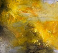 Painting abstract original oil golden 11 x 14 by Mossmottle, $120.00