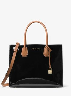 a8a68dc75e Mercer Large Color-Block Patent Leather Tote by Michael Kors