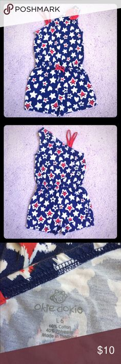 🇺🇸SALE🇺🇸Okie Dokie Patriotic Romper Okie Dokie Girls Size 6 - Patriotic Romper One Piece - Red, White, and Blue with stars and hearts. In gently used condition, no stains or rips, has some minimal wash wear. Okie Dokie Shirts & Tops Tank Tops