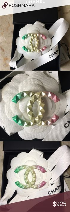 Chanel 2017 Cuba Rainbow CC Brooch Stunning Chanel Brooch from Cuba Cruise 2017 Runway. Chanel Cruise collections are always a delight but this one tops them all! The colors are simply breathtaking! This spin on a classic CC Brooch features diamond quilted studs in green, yellow and pink. Very very limited and now sold out. Signed and dated 17C Made in France. Includes Chanel box, velvet folder, tag, ribbon and camellia. Guaranteed authentic as always. CHANEL Jewelry Brooches