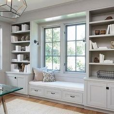 Light Gray Office Built in Shelves and Cabinets