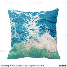 Splashing Waves Sea Pilllow Coastal Decor by Juul Pillows