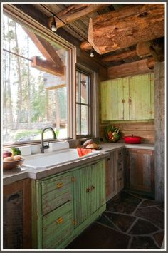 cabin kitchen... All I want out of life is a cabin