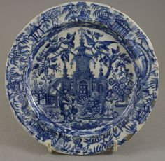 Antique Pottery Pearlware Blue Transfer Chinoiserie Pattern Plate 1810 | eBay