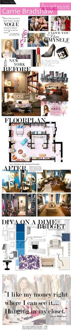 Carrie Bradshaw apartment. Awesome Interior Design Blog!