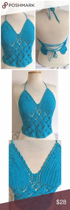 Turquoise hand crocheted 100% cotton halter top Turquoise hand crocheted 100% cotton halter top. Sexy club or beachwear. Size Small, adjustable tie in back. Turquoise blue, new unworn condition. Tops Crop Tops