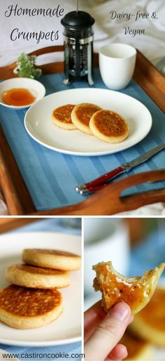 Dairy-free & Vegan Homemade Crumpets, deliciously light and fluffy! The perfect treat for breakfast in bed.
