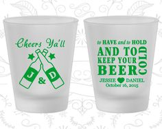 To Have and To Hold, Customized Frosted Glassware, Cheers Yall, Beer Wedding, Frosted Shot Glasses (433)
