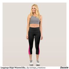 Leggings HIgh Waisted Black with Pink Cutout Cut Out Leggings, Gym Leggings, Capri Leggings, Summer Wear For Women, Yoga Capris, Running Tights, Yoga Wear, Workout Wear, Look Cool