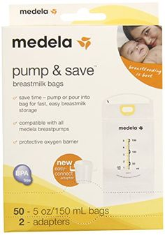 #Medela Pump & Save Breastmilk Bags with Easy-Connect Adapter - 50 ct Save time- pump or pour into bag with the new easy-connect adaptor for fast, easy breastmi...