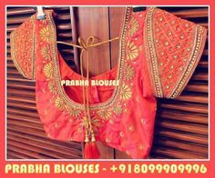 Beautiful please quote Pri ce Wedding Saree Blouse Designs, Silk Saree Blouse Designs, Designer Blouse Patterns, Designer Dresses, Blouse Neck Designs, Dress Designs, Maggam Work Designs, Indian Blouse, Indian Beauty Saree
