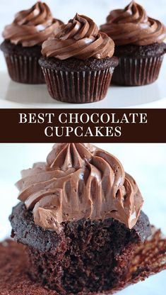 Cupcake Recipes 98976 The BEST Chocolate Cupcakes ever! Easy from-scratch recipe that is ultra moist with a homemade chocolate frosting. You'll love this simple recipe made with cocoa powder and a dash coffee. Great dessert for a crowd! Cupcakes Au Cholocat, Cupcakes Cool, Home Made Cupcakes, White Cupcakes, Lemon Cupcakes, Moist Cupcakes, Cupcakes Boston, Simple Cupcakes, Birthday Cupcakes