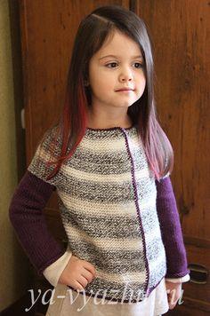 Двухцветная кофточка для девочки спицами