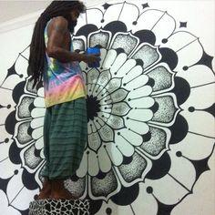 MANDALA WALL PAINT #mandala #mandalagrass #mandalapaint #meditation #yantra #meditation #sacredgeometry #posca #gramaloka #gramalokatattoo #mandalawall #artdeco #poscapen #foccus #grama #mandalagrass #budhism #mandalalove #love