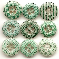 1800s Antique Calico China Buttons - women wore these on their calico dresses.