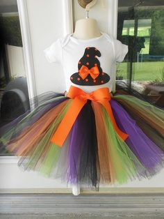 Girls Little Witch Halloween Orange Black TuTu Shirt Applique  sizes 2t 3t 4t 2 3 4. $29.99, via Etsy.