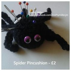 Do you have a phobia of spiders? Take revenge with this spider pincushion! Other colours can be substituted or have a different bug altogether. http://goo.gl/PYPosa