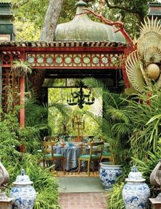 "Tony Duquette's Asian fantasy garden pavilion, with lush plantings & usual exotic ""props"" at his home, called Dawnridge"" in Beveryly Hills,CA--one of multiple garden ""living rooms"" created on Duquette's property, beginning in the 1940's (via Eye For Design)"