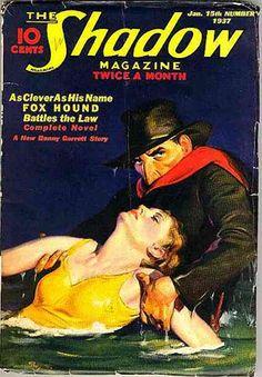 Shadow magazine Jan 1937 woman dame drown drowning drowned water rescue Lamont Cranston danger