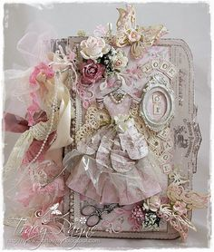 Pink and Cream Shabbylicious #scrapbook album by Tracy Payne