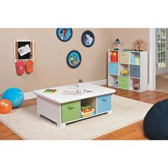 Need a space for your crafty kids? The ClosetMaid Cubeicals Activity Table provides 6 Cube of storage space below a large table top for your little artists! Fabric Storage Bins, Kids Storage, Table Storage, Toy Storage, Storage Ideas, Storage Cubes, Playroom Storage, Record Storage, Baby Activity Table