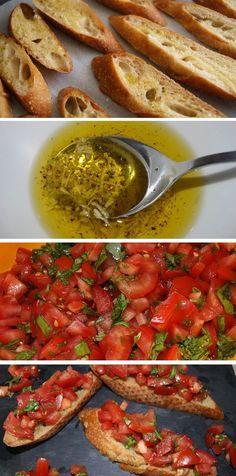 Lækre talienske bruschettas med den klassiske kombination af solmodne tomater, hvidløg og basilikum.