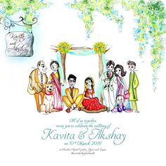 Kavita and Akshay's family illustration for their wedding invite is part of Hindu wedding invitations - Engagement Invitation Cards, Indian Wedding Invitation Cards, Wedding Invitation Background, Wedding Invitation Card Design, Invite, Wedding Card Design Indian, Indian Wedding Cards, Doodle Wedding, Wedding Card Quotes