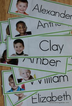 Adding your kids' names and pictures to your word wall is a great way to create interest. Make name cards for your classroom word wall with the free template. Directions are included in the article. These would be great for a preschool, pre-k, kindergarte Kindergarten Names, Preschool Names, Preschool Literacy, Kindergarten Classroom, Preschool Cubbies, Preschool Attendance Ideas, Preschool Center Labels, Preschool Classroom Labels, Homeschool