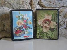 2 vintage French cookie tins circa 1950s with birds and flowers from Histoires on Etsy #tins #vintage #french #redcardinal #flowers #histoires #etsy