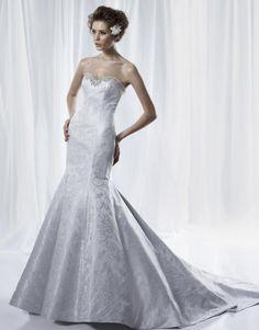 Fashion Mermaid Designer Bridal Gown with Beaded Sweetheart Neckline Chapel Train