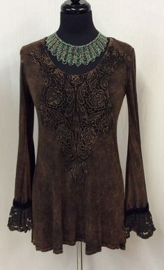 Distressed Lace and Velvet Top