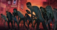 "culturenlifestyle: "" Satirical Illustrations by Steve Cutts Depict The Harsh Truth About Modern Society London-based illustrator and animator Steve Cutts composes satirical images, which challenge and. Technology Addiction, Satirical Illustrations, Art Illustrations, Powerful Art, Powerful Images, Photoshop, Zombie Apocalypse, Thought Provoking, Scary"