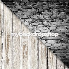 Combo - Two 2ft x 2ft Vinyl Photography Backdrop and Floor Drop - Gray Brick Wall / Faded White Wood Floor - Items 376 & 1371