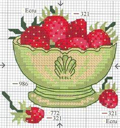 bowl of strawberries BITS Cross Stitch Fruit, Cross Stitch Kitchen, Cross Stitch Borders, Cross Stitch Charts, Cross Stitch Designs, Cross Stitching, Cross Stitch Embroidery, Embroidery Patterns, Cross Stitch Patterns