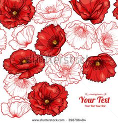 Similar Images, Stock Photos & Vectors of Vector red poppies flowers frame corner pattern . Invitation or greeting card design. Flower Vector Art, Flower Art, Illustration Blume, Botanical Illustration, Wreath Drawing, Painting & Drawing, Flowers In Hair, Red Flowers, Watercolor Flowers