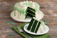 Feeling lucky? Celebrate with this Green Velvet Layer Cake! Chocolate flavored cake sandwiched with rich cream cheese frosting and topped with white chocolate garnish and a green fondant shamrock.