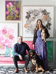 Neil Downie and Bonnie Ashley with extended members of their family Rosie and Foxy! Photo – Eve Wilson for The Design Files. Shape Poems, Bonnie And Neil, Large Artwork, The Design Files, Mixed Media Artists, House Colors, Painting Inspiration, Home Art, Illustrators