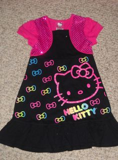 Hello Kitty Girls Black WIth Pink Sequins dress sz 5 $36 NWT #HelloKitty #Dressy Hello Kitty Clothes, Pink Sequin Dress, Toddler Outfits, Sequins, Girls, Clothing, Shoes, Black, Dresses