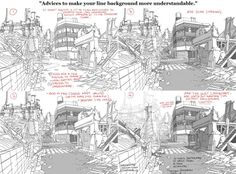 PS: pqxv tbfoa — A master post of Thomas Romain's art tutorials. Background Drawing, Animation Background, Drawing Reference Poses, Art Reference, Thomas Romain, Environment Concept, Drawing Techniques, Drawing Tricks, Drawing Step