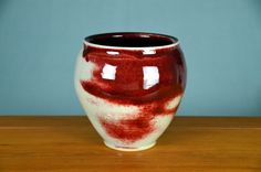 Red White Ceramic Indoor Planter, Hand Thrown Porcelain Pottery, Centerpiece…